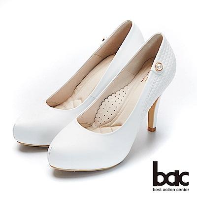 bac紐約不夜城 - 素雅單顆珍珠車格厚底高跟鞋-白