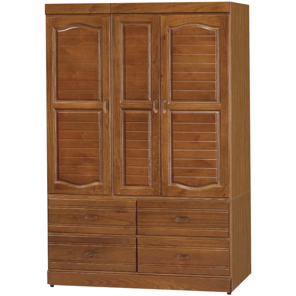 綠活居 優美樟木紋4尺實木三門四抽衣櫃/收納櫃-118.8x56.4x178.5cm免組