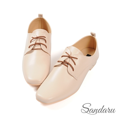 山打努SANDARU-紳士鞋 簡約素面皮革方頭小皮鞋-米