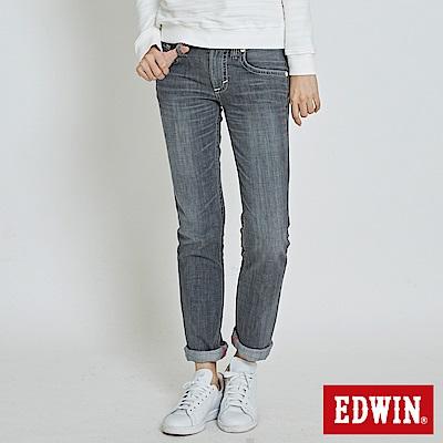 EDWIN無限亮眼 MISS BT後袋剪接窄直筒牛仔褲-女-灰色
