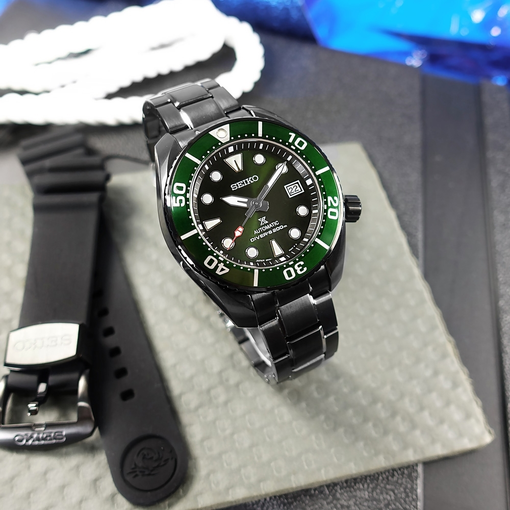 SEIKO 精工台灣限量款 PROSPEX 機械錶 不鏽鋼手錶 禮盒組-綠x鍍黑/45mm
