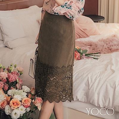 東京著衣-yoco 優選質感後拉鍊蕾絲透肌拼接下擺裙-S.M.L(共一色)