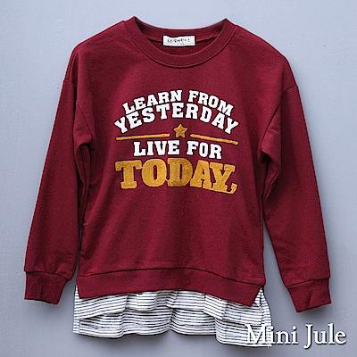 Mini Jule 大童 上衣 假兩件針織字母造型印花長袖上衣(棗紅)