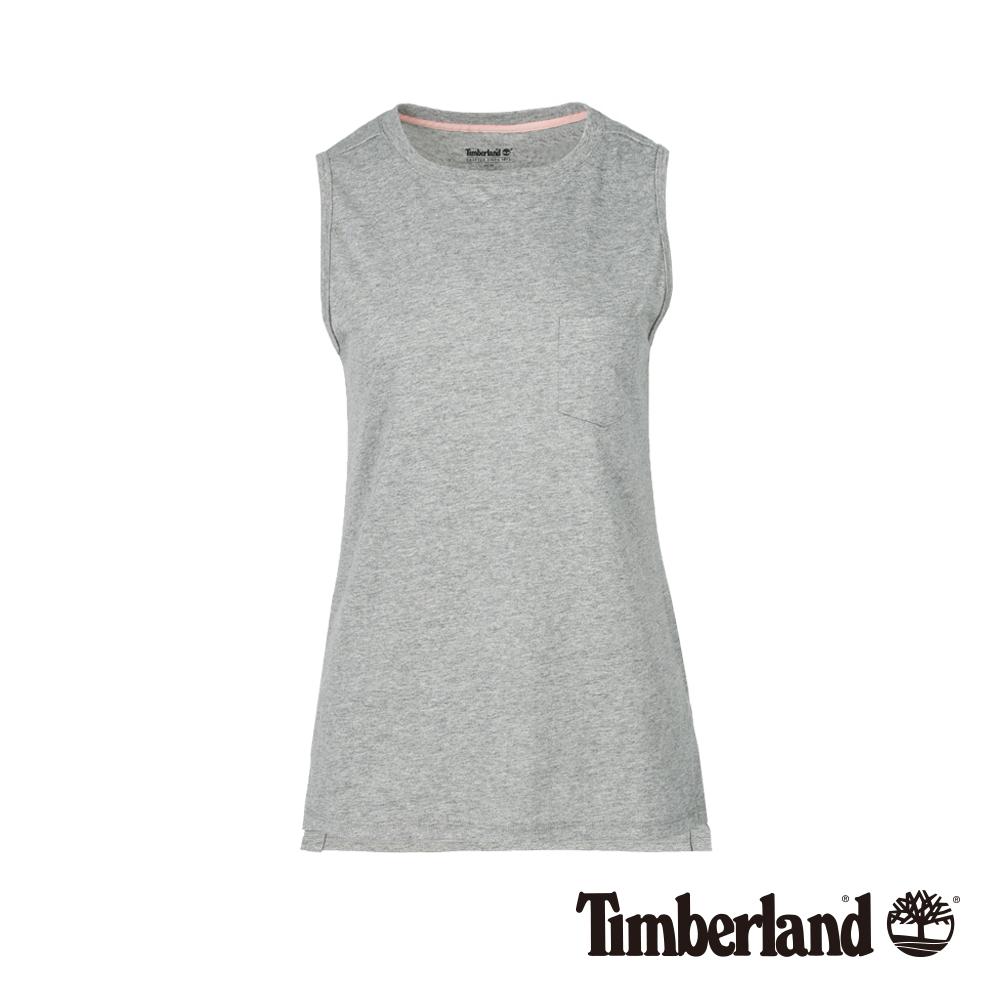 Timberland 女款淺灰色無袖口袋長版背心|B3516