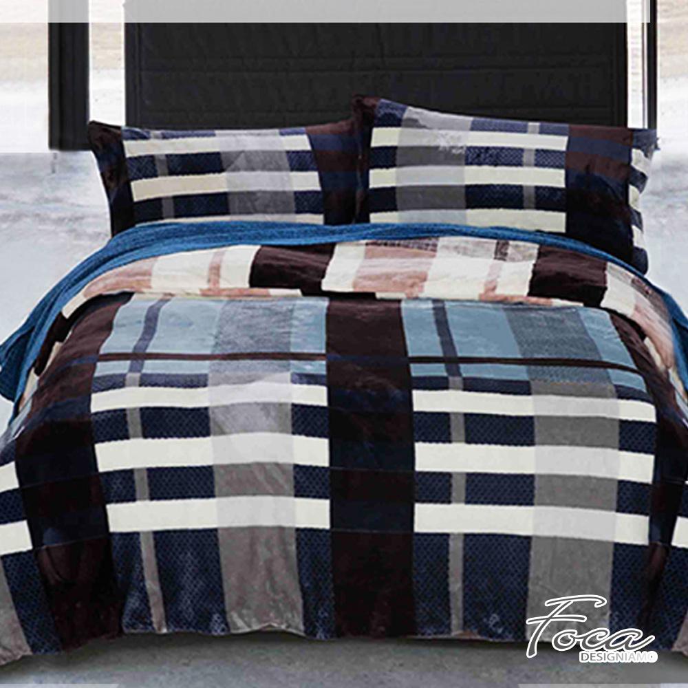 FOCA 簡約格紋   加大-極緻保暖法萊絨四件式兩用毯被套床包組