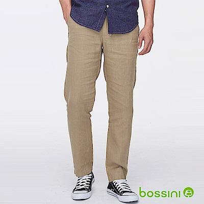 bossini男裝-棉麻輕便長褲黃銅色