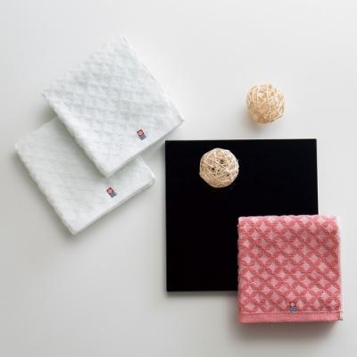 日本派迪 今治100%純綿七寶紋樣柔膚方巾-純白