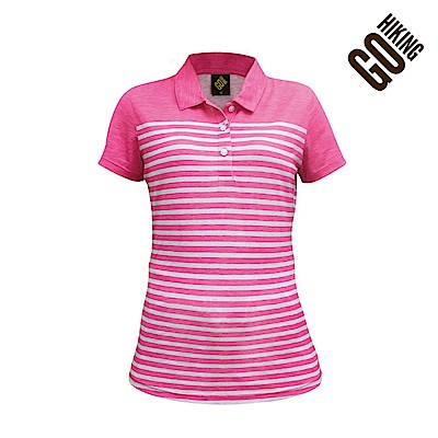 【GOHIKING】女透氣排汗條紋polo衫-粉紅