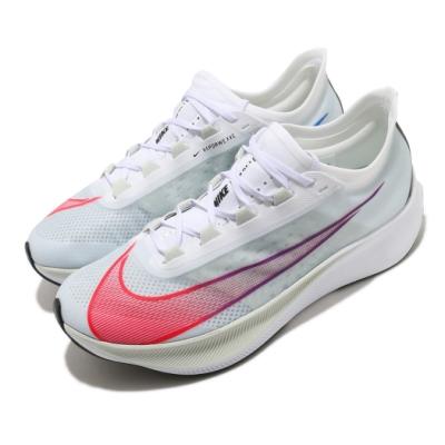 Nike 慢跑鞋 Zoom Fly 3 運動 男鞋 氣墊 避震 路跑 健身 球鞋 穿搭 白 紅 AT8240103