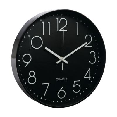 北歐靜音時鐘掛鐘-黑框黑底