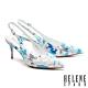 高跟鞋 HELENE SPARK 細緻晶鑽純色緞布後繫帶尖頭高跟鞋-藍 product thumbnail 1