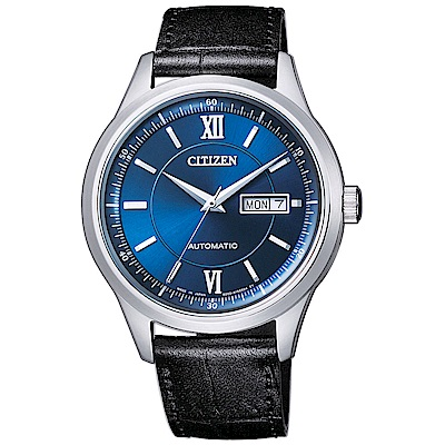 CITIZEN 星辰簡約風尚真皮機械手錶(NY4050-03L)-藍X黑/40mm