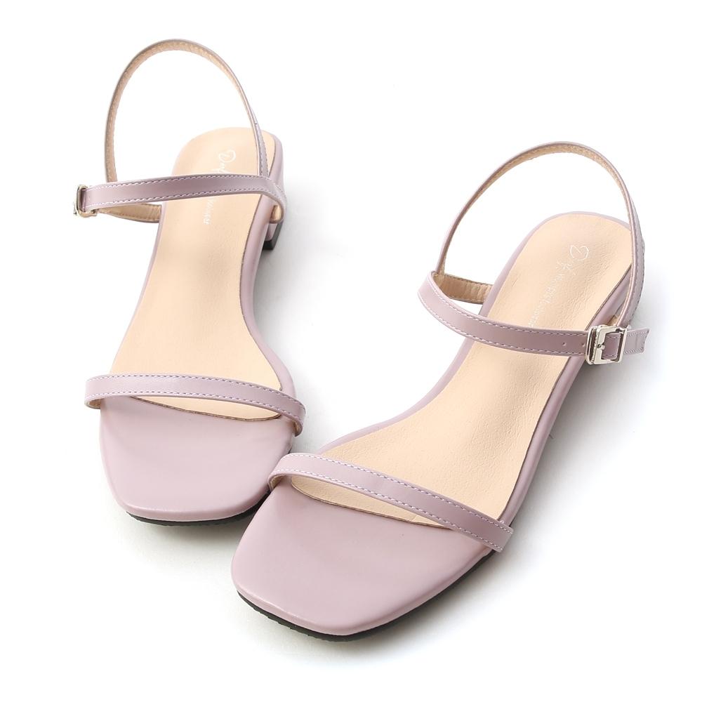D+AF 繽紛好感.一字細帶方頭低跟涼鞋*紫