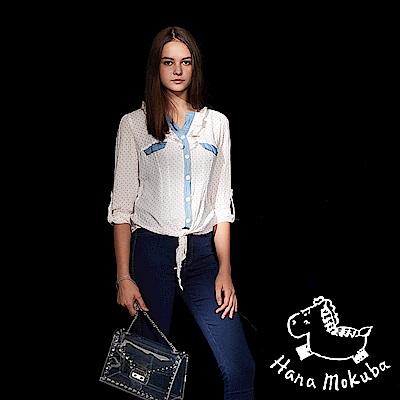 Hana+花木馬 荷葉點點印花紡紗拼接造型襯衫上衣(兩色)-椰奶白