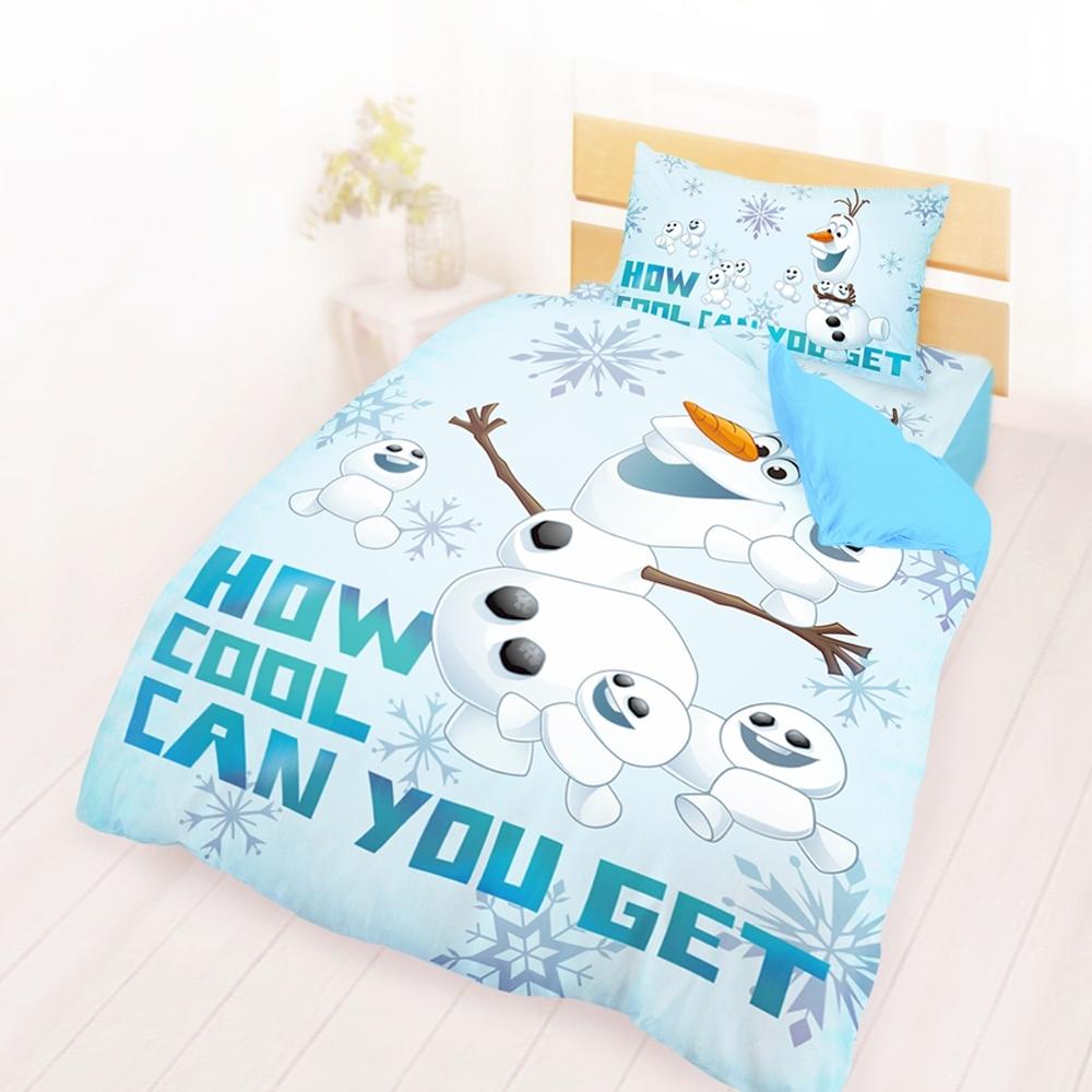 享夢城堡 單人床包薄被套三件組-冰雪奇緣FROZEN迪士尼 雪寶與小雪人-藍