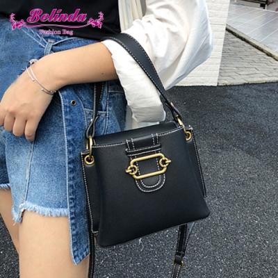 【Belinda】帕多瓦迷你小方側背斜背水桶包(黑色)