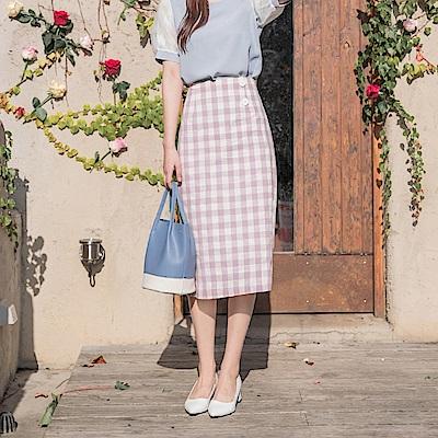 高含棉排釦格紋配色開衩合身A字裙-OB大尺碼