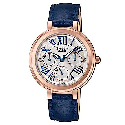 SHEEN 羅馬數字魅力優雅風格皮帶腕錶(SHE-3034GL-7C)藍/32mm
