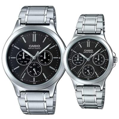 CASIO 簡約經典設計三針三眼不鏽鋼對錶-黑(MTP-V300D-1A+LTP-V300D-1A)