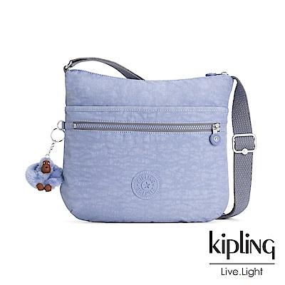 Kipling 溫柔粉藍前拉鍊側背包-ARTO