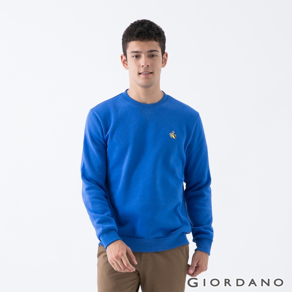 GIORDANO 男裝精緻刺繡大學T恤 - 03 星雲藍