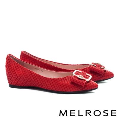 平底鞋 MELROSE 復古時尚金屬飾釦尖頭全真皮平底鞋-紅