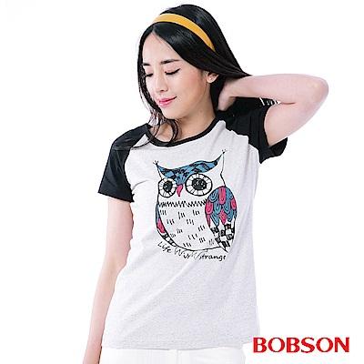 BOBSON 女款貓頭鷹印圖T恤