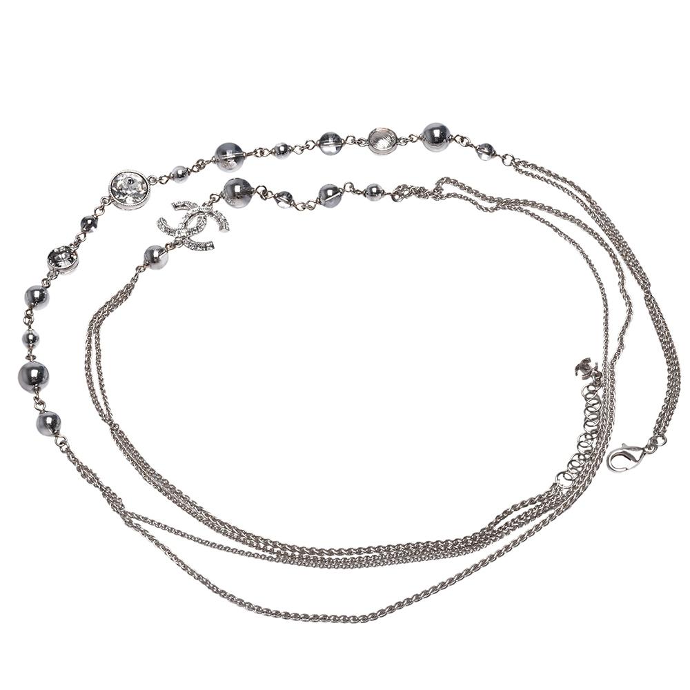CHANEL 經典雙C LOGO珠珠造型雙層腰鍊(銀)