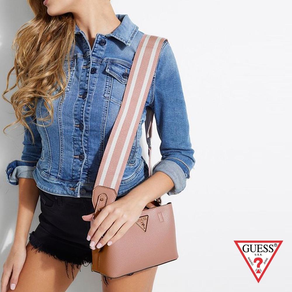GUESS-女包-皮革手提肩背包-粉紅