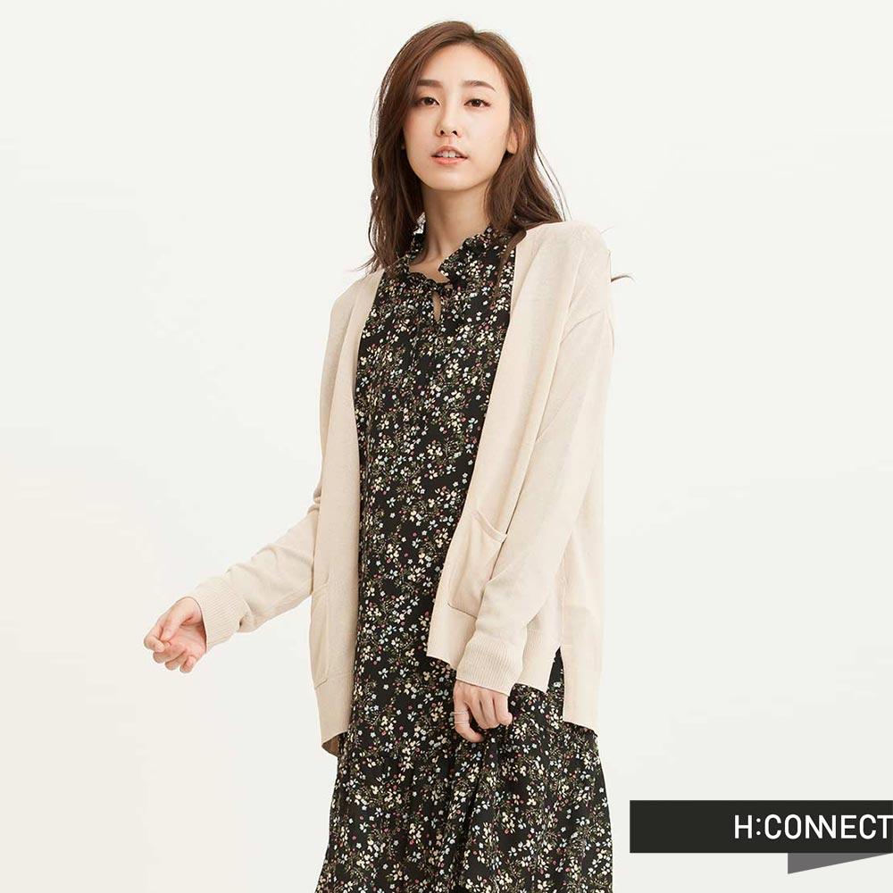 H:CONNECT 韓國品牌 女裝 - 質感純色開襟外套-卡其(快)