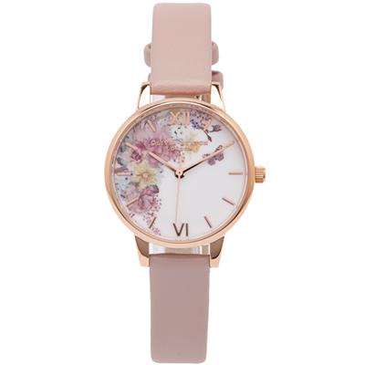 OLIVIA BURTON 浪漫花海款皮革手錶(OB 16 EG 100 )-花朵面/ 30 mm