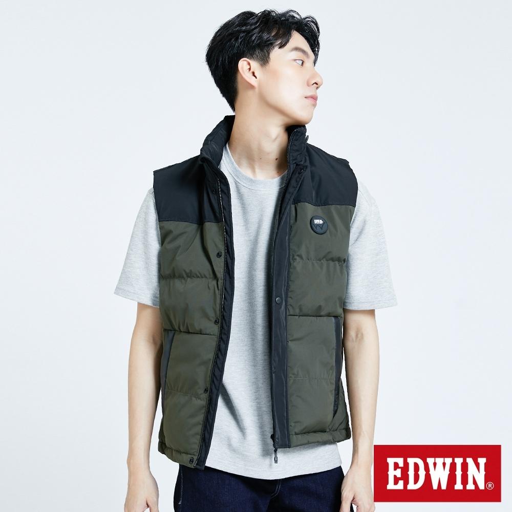 EDWIN EFS 可收帽浮羽纖材質 鋪棉背心-男-苔綠色