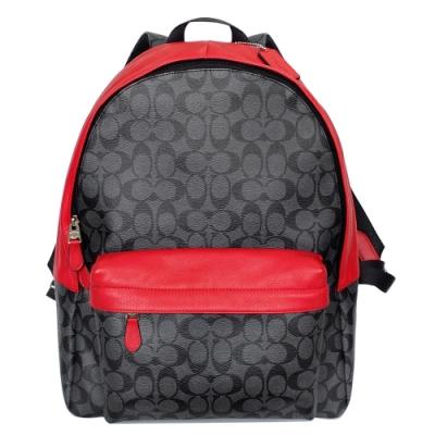 COACH灰底黑C Logo拼接紅邊真皮雙肩電腦後背包(大)