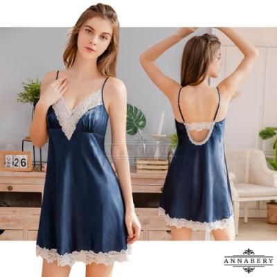 大尺碼Annabery 典雅藍緞面白蕾絲美背性感睡裙 藍 L-2L