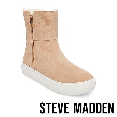STEVE MADDEN-GARRSON毛絨厚底金拉鍊短靴-絨棕