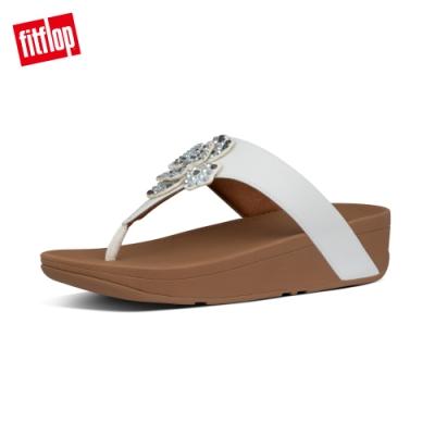 FitFlop LOTTIE CORSAGE TOE-THONGS 水鑽花朵裝飾夾腳涼鞋-女(都會白)