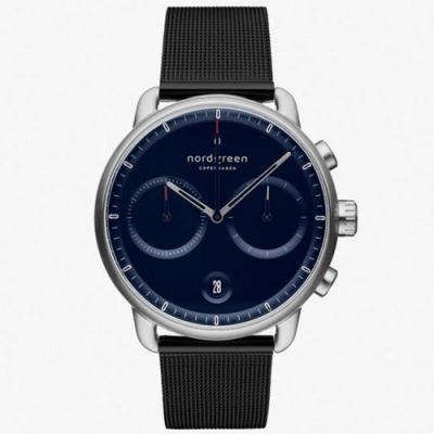 Nordgreen  Pioneer | 北歐藍錶盤 - 極夜黑網格鈦鋼錶帶42mm(PI42SIMEBLNA)