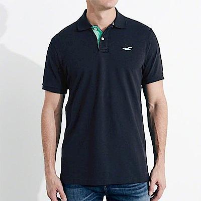 HCO Hollister 海鷗 經典電繡海鷗標短袖Polo衫-深藍色