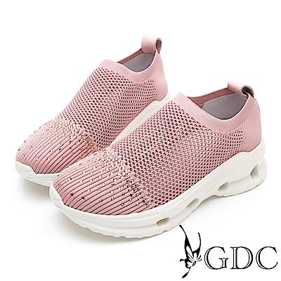 GDC-水鑽飛織舒適流線風休閒鞋-粉色