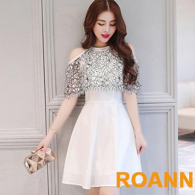 圓領拼接透膚縷空蕾絲露肩洋裝 (白色)-ROANN