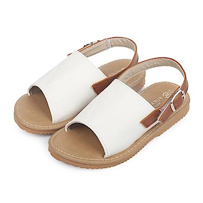 BuyGlasses 極簡寬面平底兒童涼拖鞋-白