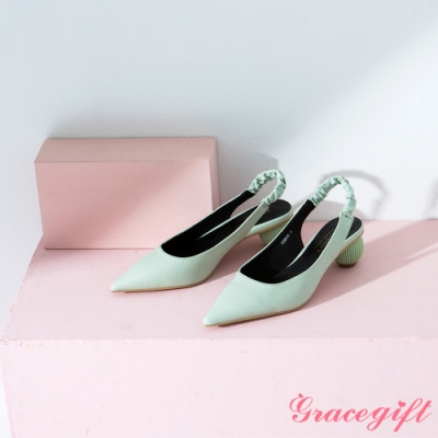Grace gift-後空鬆緊帶圓球中跟鞋 綠