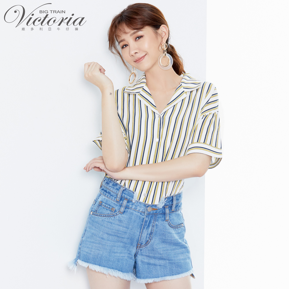 Victoria 落肩休閒短袖襯衫-女-白色