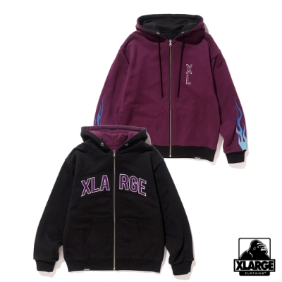 XLARGE  REVERSIBLE ZIP HOODED SWEAT連帽外套-黑