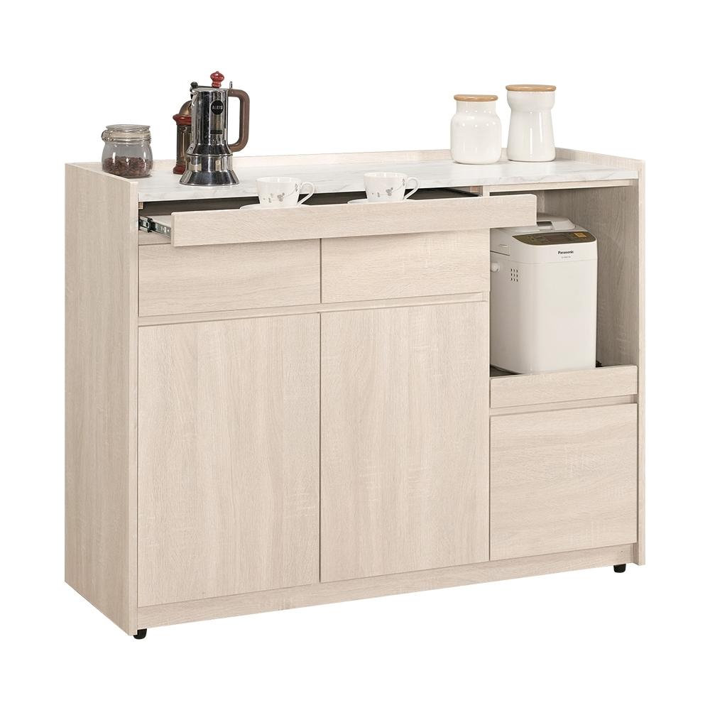 Boden-妮絲4尺仿石面收納餐櫃/碗盤置物櫃/電器櫃-120x40x90