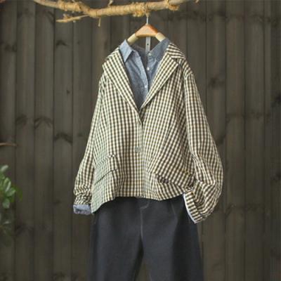 輕巧減齡縫褶袖口寬鬆格子外套西服上衣-設計所在