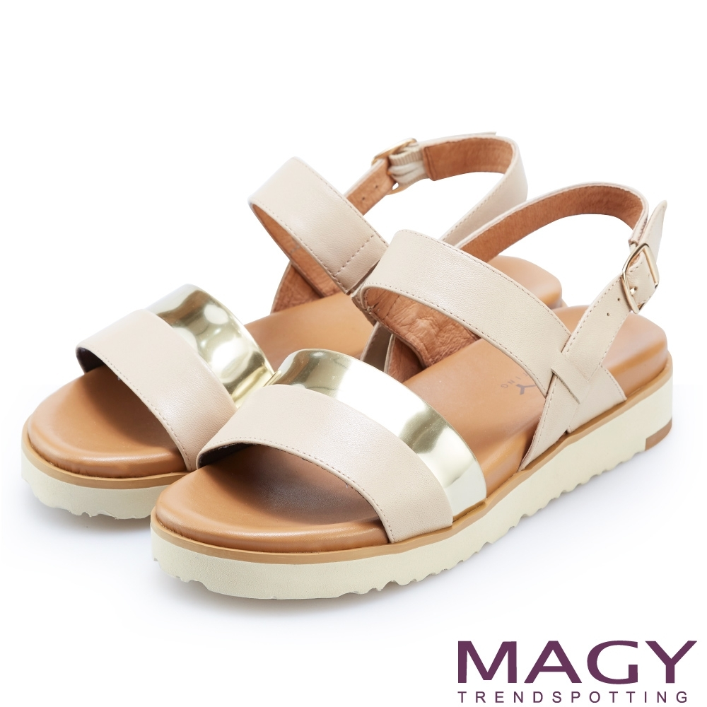 MAGY 休閒時尚舒適 雙帶牛皮撞色平底涼鞋-裸色