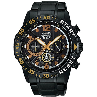 ALBA 熱血青春 三眼計時腕錶(AT3965X1)-黑/44mm