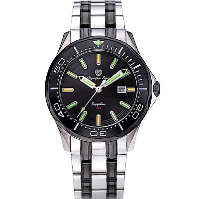 OlympiaStar奧林比亞之星 神盾系列極限氚氣石英錶(98024TGSB)-雙色x黑