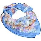 Christian Dior 日本製繽紛花朵LOGO圖騰100%絲質大絲巾(藍色系)